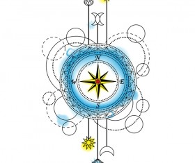 Compass with decorative illustration vector
