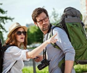 Couple backpackers Stock Photo