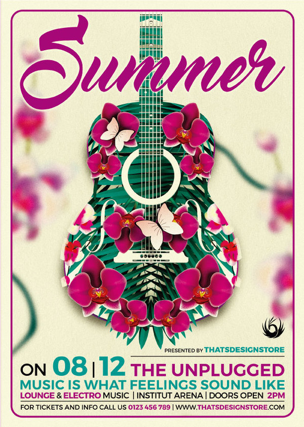 Creative Summer Unplugged Music Flyer Psd Template