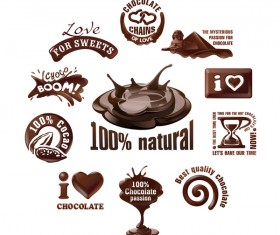 Creative chocolate logos vector set 01