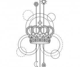 Crown with decorative illustration vector