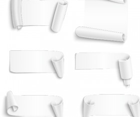 Curled paper banners white vector 01