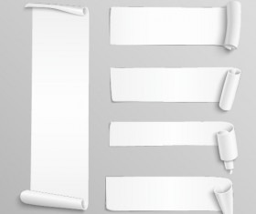 Curled paper banners white vector 02