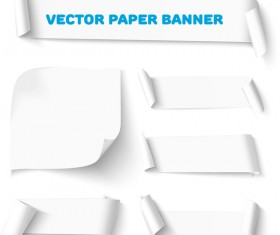 Curled paper banners white vector 03