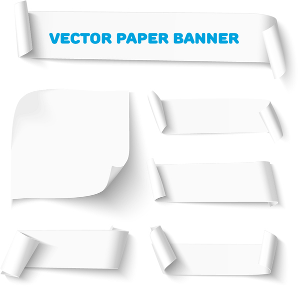 curled paper banners white vector 03 free download