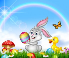 Cute bunny easter background with rainbow vector 02