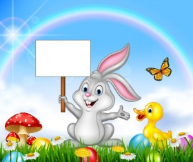 Cute bunny easter background with rainbow vector 03