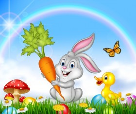 Cute bunny easter background with rainbow vector 04