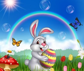 Cute bunny easter background with rainbow vector 05