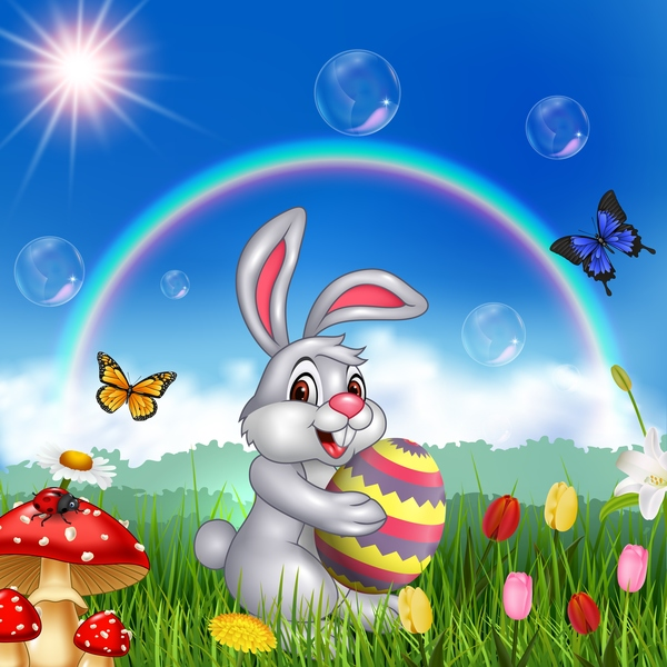 Cute bunny easter background with rainbow vector 05 ...