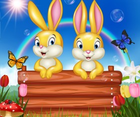 Cute bunny easter background with rainbow vector 06