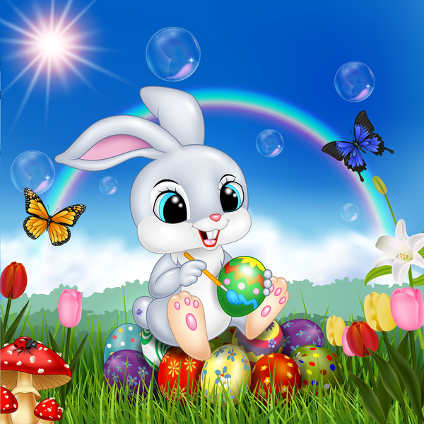 Cute bunny easter background with rainbow vector 07 ...