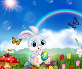 Cute bunny easter background with rainbow vector 08