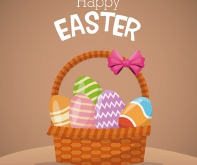 Cute egg decorating with easter card vector 01