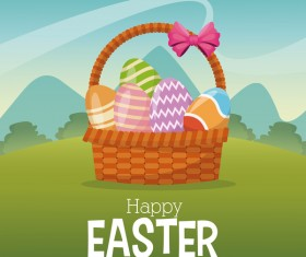 Cute egg decorating with easter card vector 02