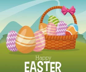 Cute egg decorating with easter card vector 03