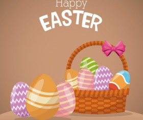 Cute egg decorating with easter card vector 04