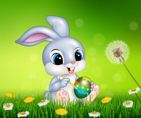 Cute little bunny with green easter background vector 01