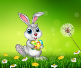 Cute little bunny with green easter background vector 02