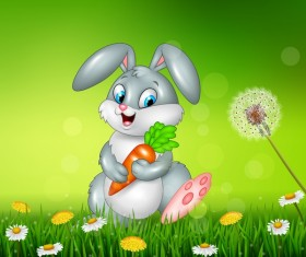 Cute little bunny with green easter background vector 03
