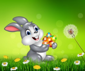 Cute little bunny with green easter background vector 04