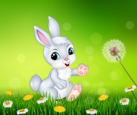 Cute little bunny with green easter background vector 06
