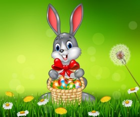 Cute little bunny with green easter background vector 07
