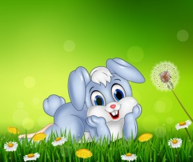 Cute little bunny with green easter background vector 08