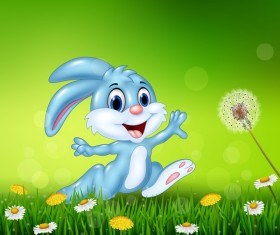 Cute little bunny with green easter background vector 09