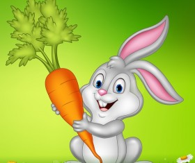 Cute little bunny with green easter background vector 10