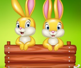 Cute little bunny with green easter background vector 11