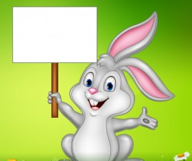 Cute little bunny with green easter background vector 12