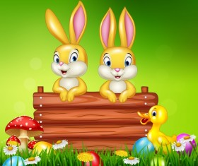 Cute little bunny with green easter background vector 13
