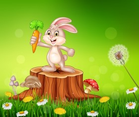 Cute little bunny with green easter background vector 14
