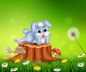 Cute little bunny with green easter background vector 15