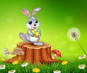 Cute little bunny with green easter background vector 16