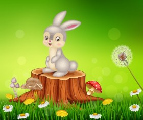 Cute little bunny with green easter background vector 17