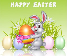 Cute rabbit and easter egg vector 01