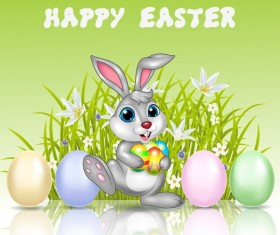 Cute rabbit and easter egg vector 02