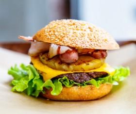 Delicious pork burger Stock Photo 01