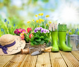 Desktop on the boots with straw hat and flower background HD picture