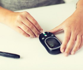 Detection of blood sugar Stock Photo