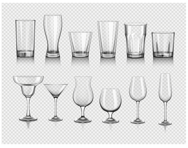 Different glass cup illustration vector