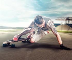 Difficult skateboarding skills Stock Photo