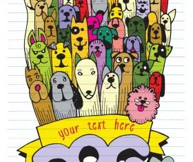 Doodle dog background vector 01
