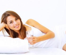 Drinking water girl Stock Photo