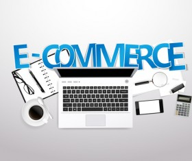 E-commerce with workplace template vector 01