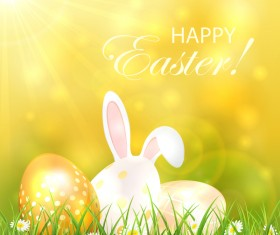 Easter background with eggs and rabbit vector
