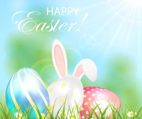 Easter background with shiny eggs and rabbit vector