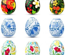 Easter colored egg set vector 02